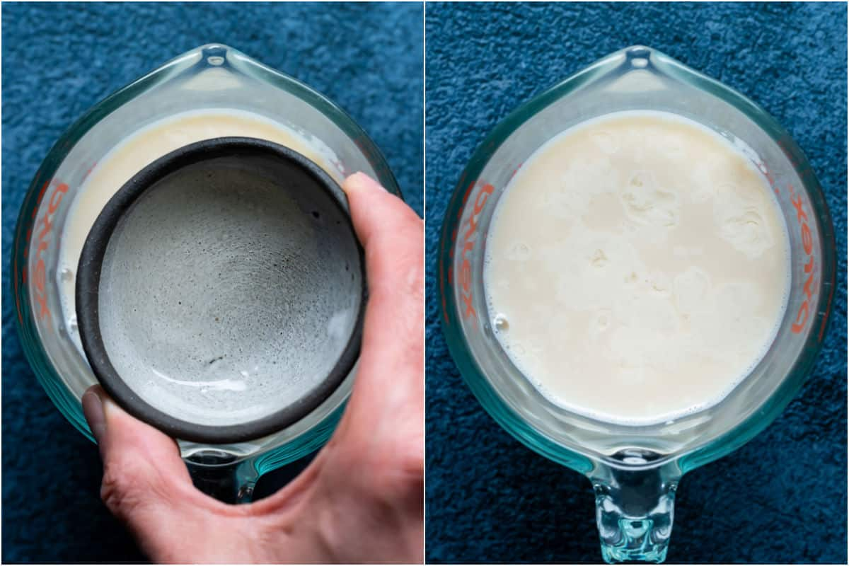 Collage of two photos showing apple cider vinegar added to soy milk in a measuring jug.