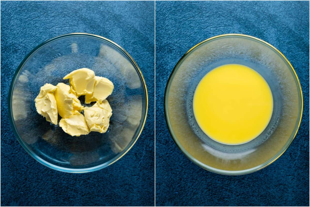 Two photo collage showing vegan butter added to microwave safe bowl and melted.