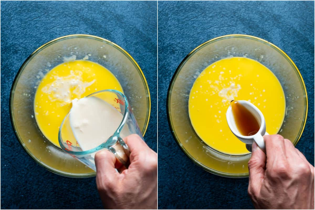 Two photo collage showing vegan buttermilk and maple syrup added to melted vegan butter.