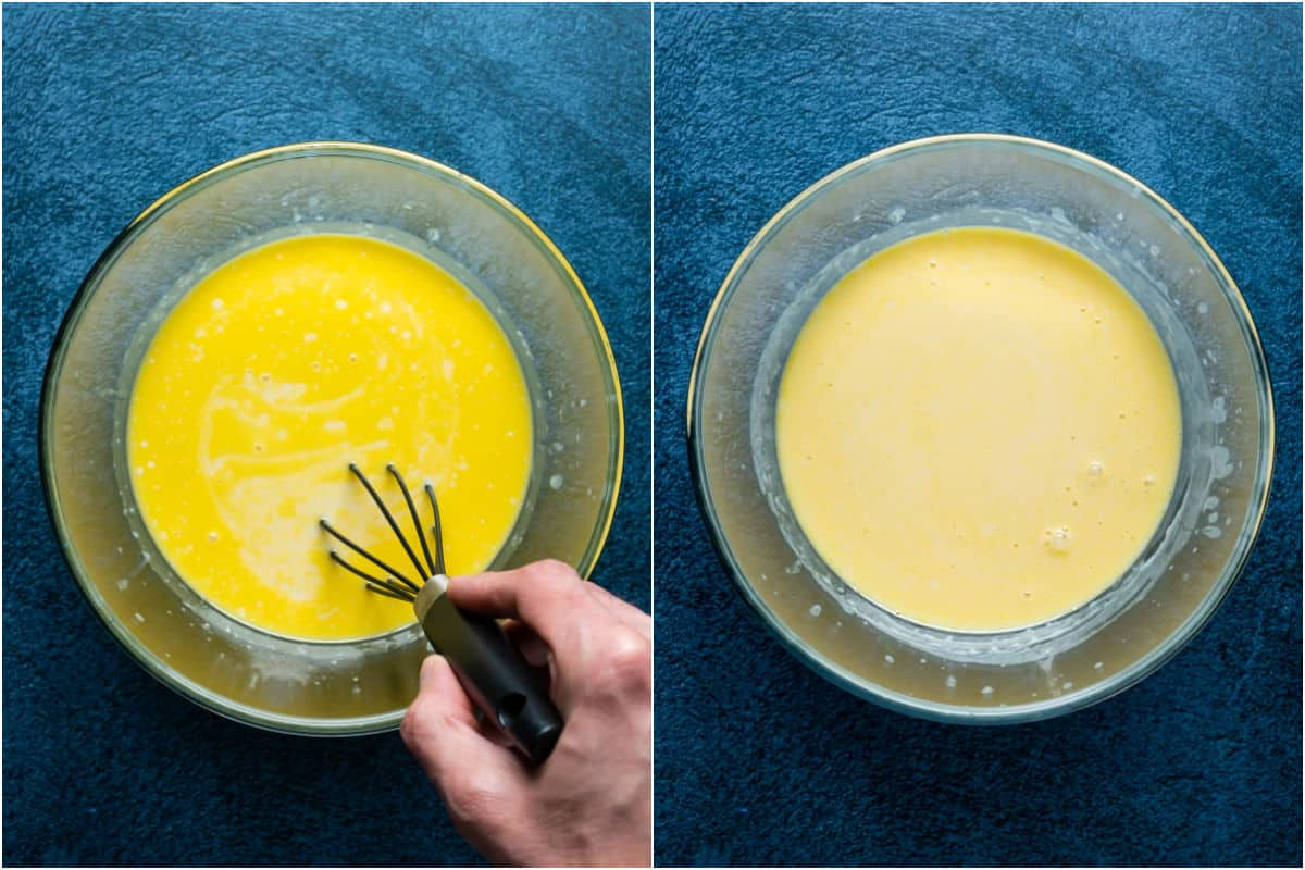 Two photo collage showing wet ingredients whisked together until smooth.