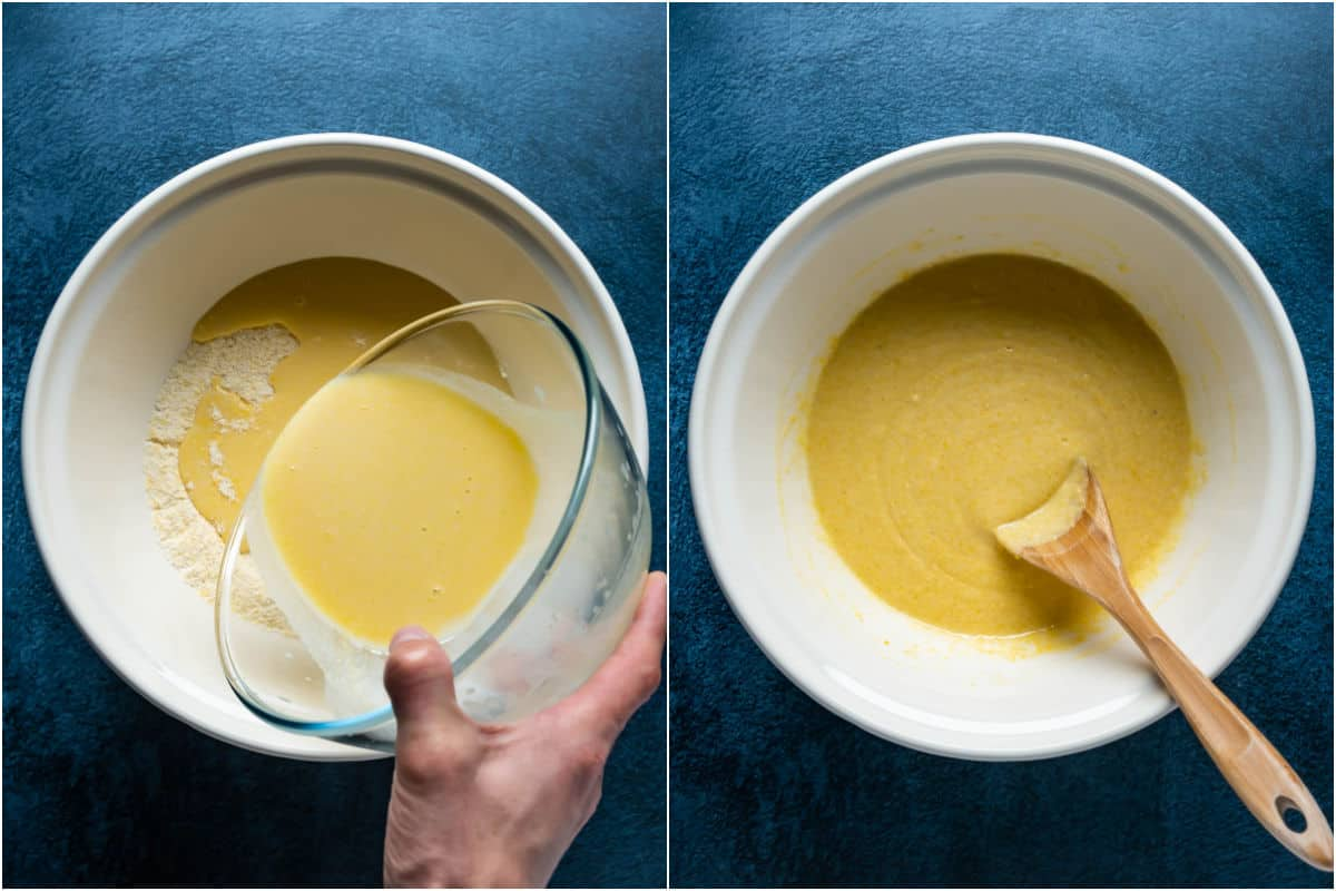 Two photo collage showing wet ingredients added to dry and mixed together into a batter.