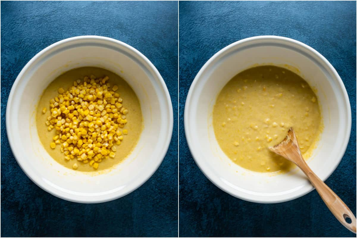 Two photo collage showing whole corn kernels added to batter and folded in.