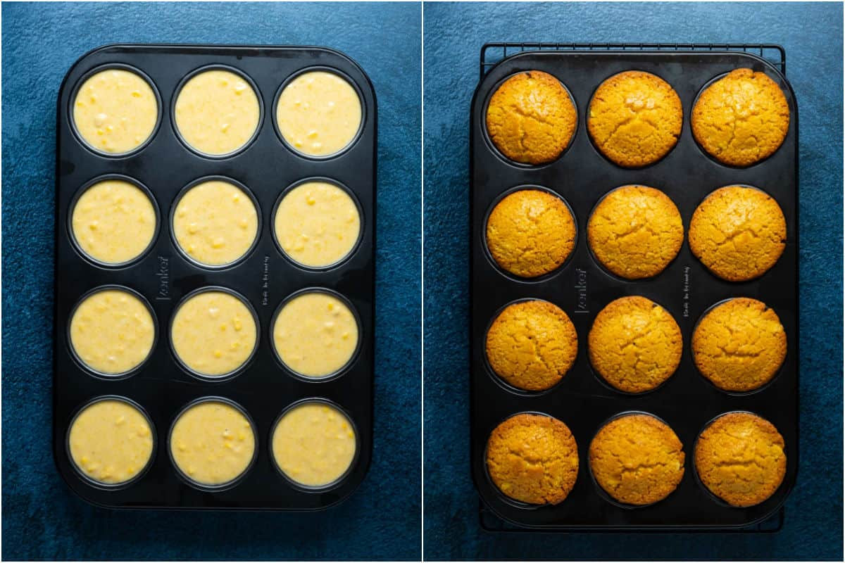Two photo collage showing cornbread muffins in a muffin tray before and after baking.