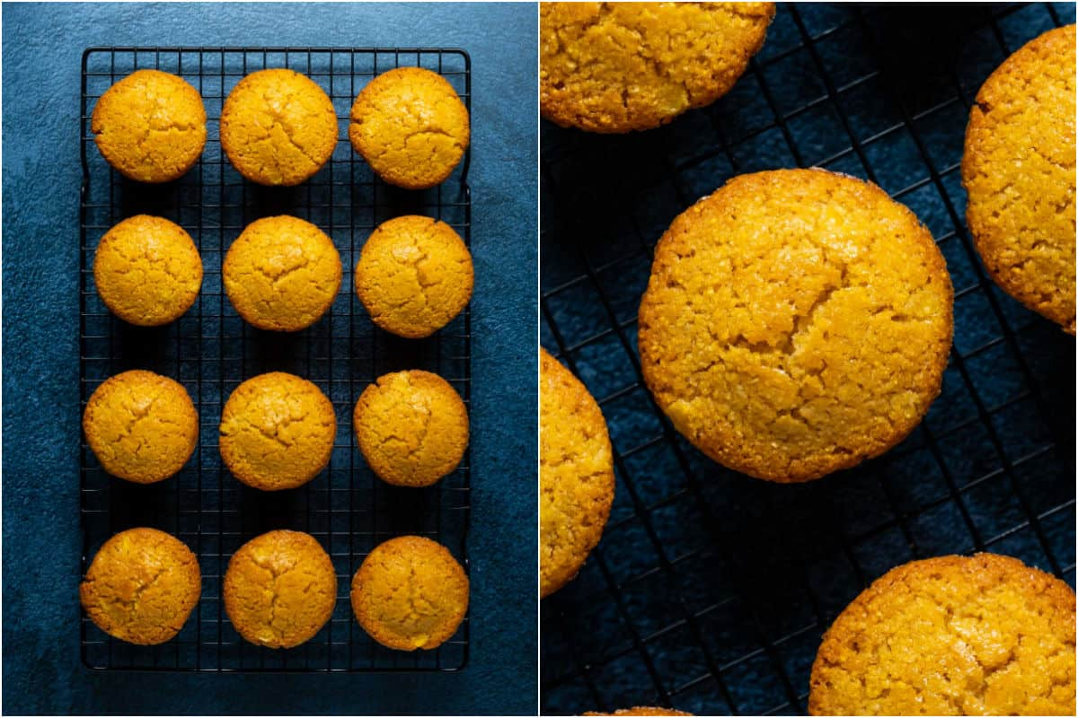 Two photo collage showing vegan cornbread muffins on a wire cooling rack and then close up.
