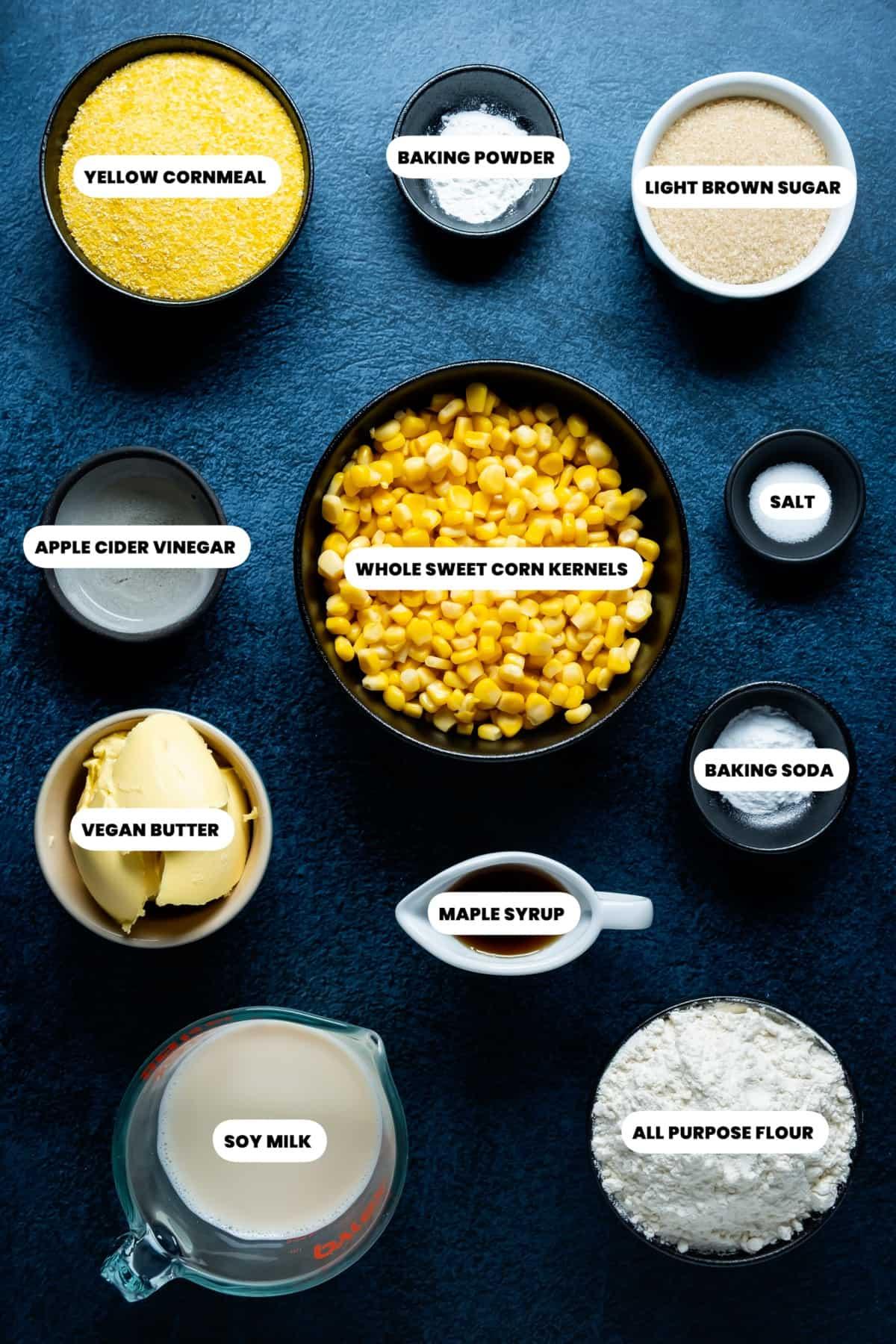 Photo of the ingredients needed to make vegan cornbread muffins.