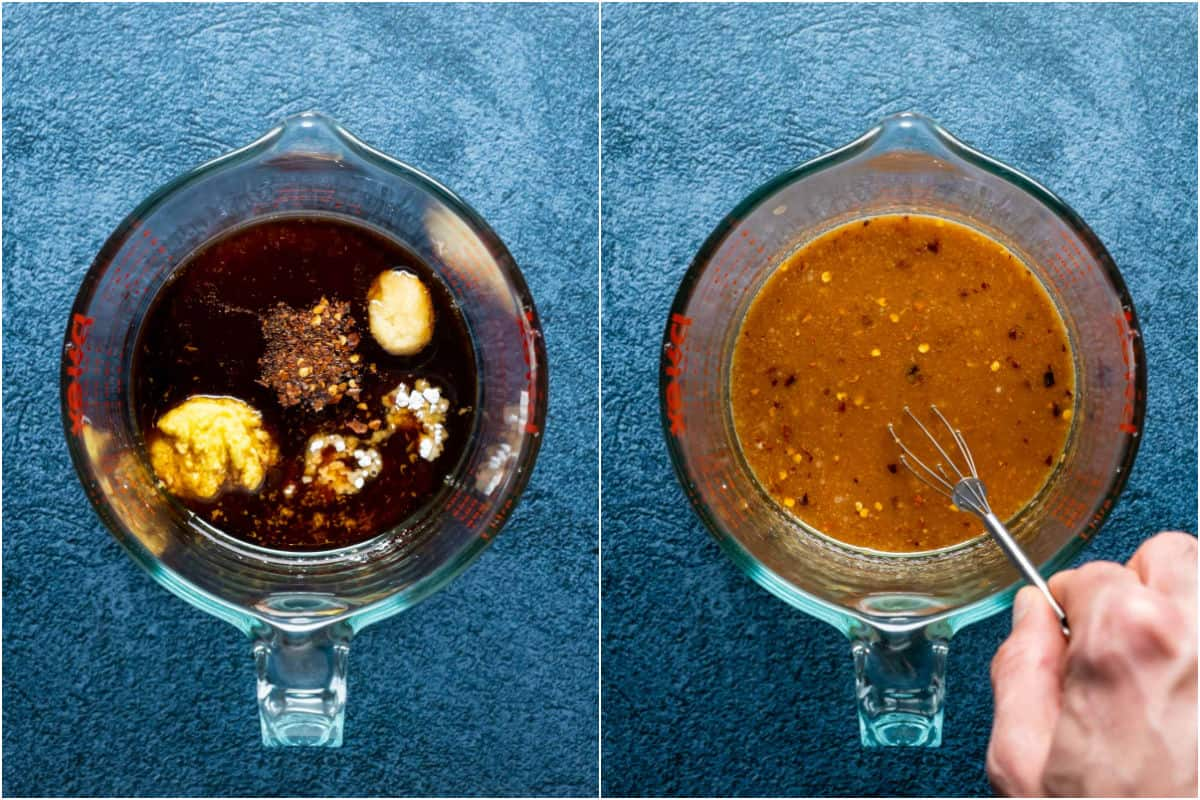 Two photo collage showing sauce ingredients added to measuring jug and whisked together.