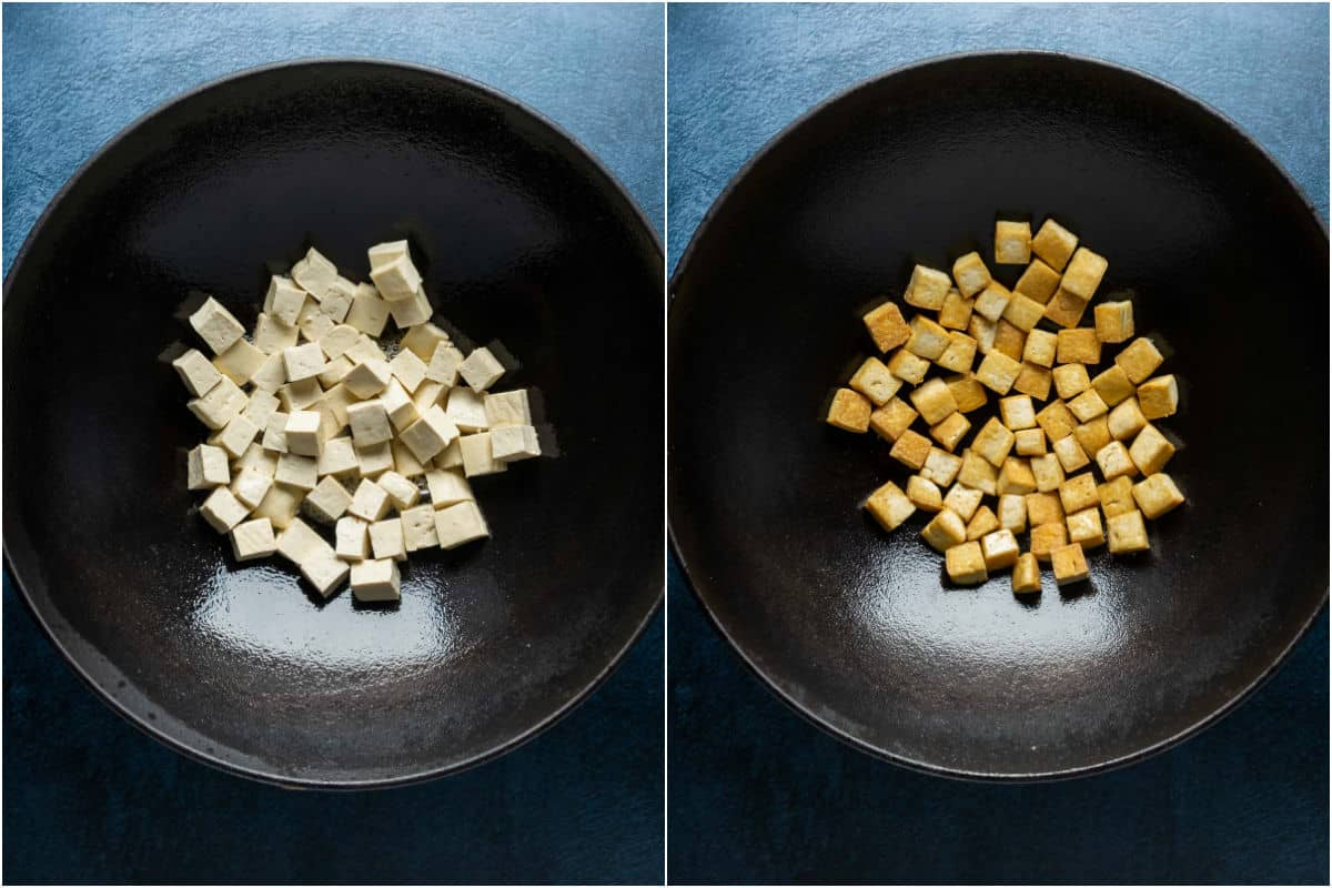 Two photo collage showing tofu added to wok with oil and fried.