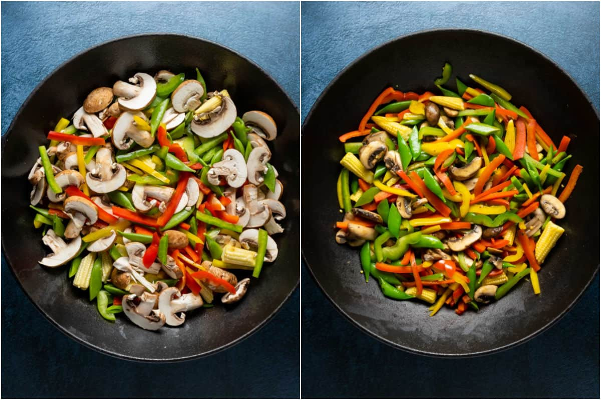 Two photo collage showing veggies added to work and stir fried.