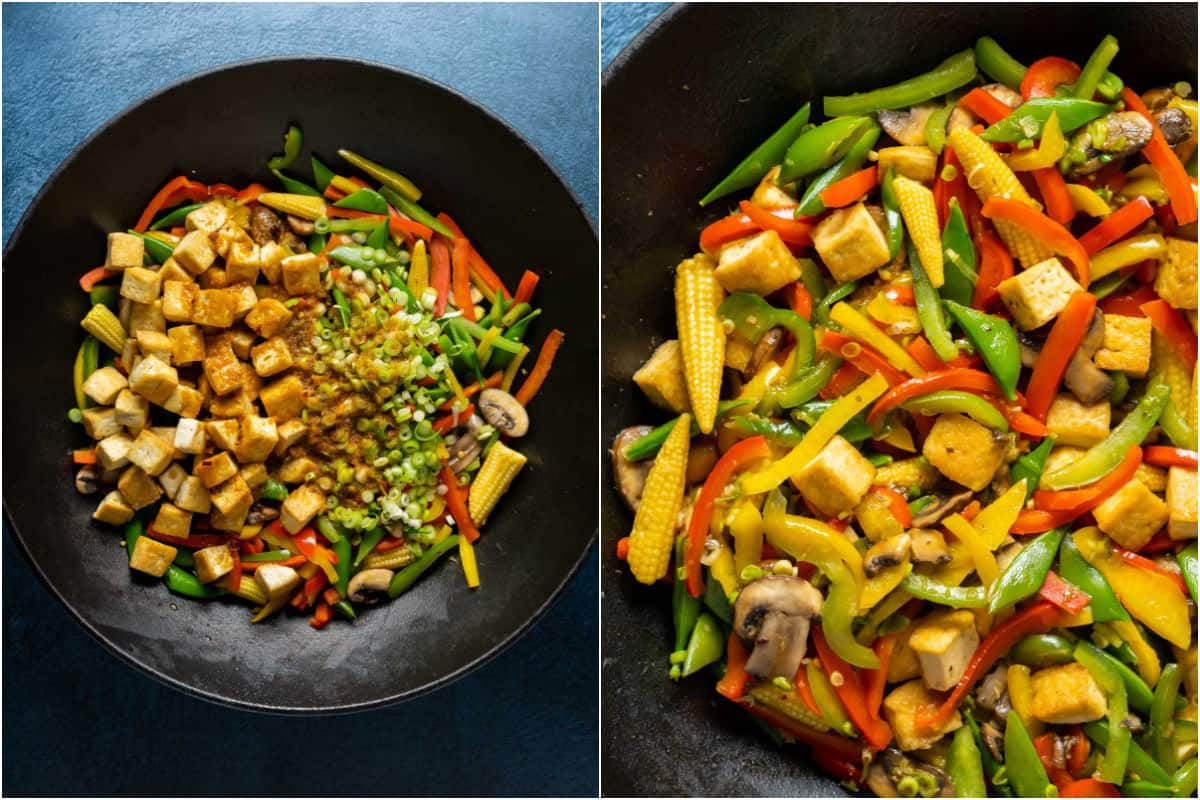 Two photo collage showing tofu, green onions and sauce added to wok and stir fried.