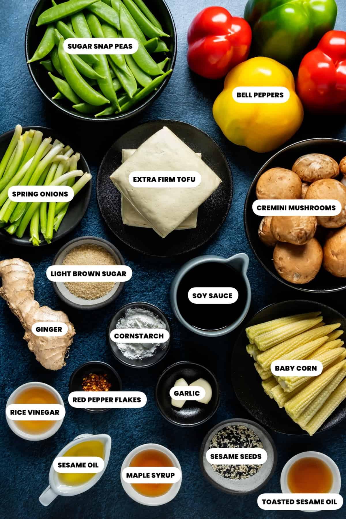 Photo of the ingredients needed to make vegan stir fry.