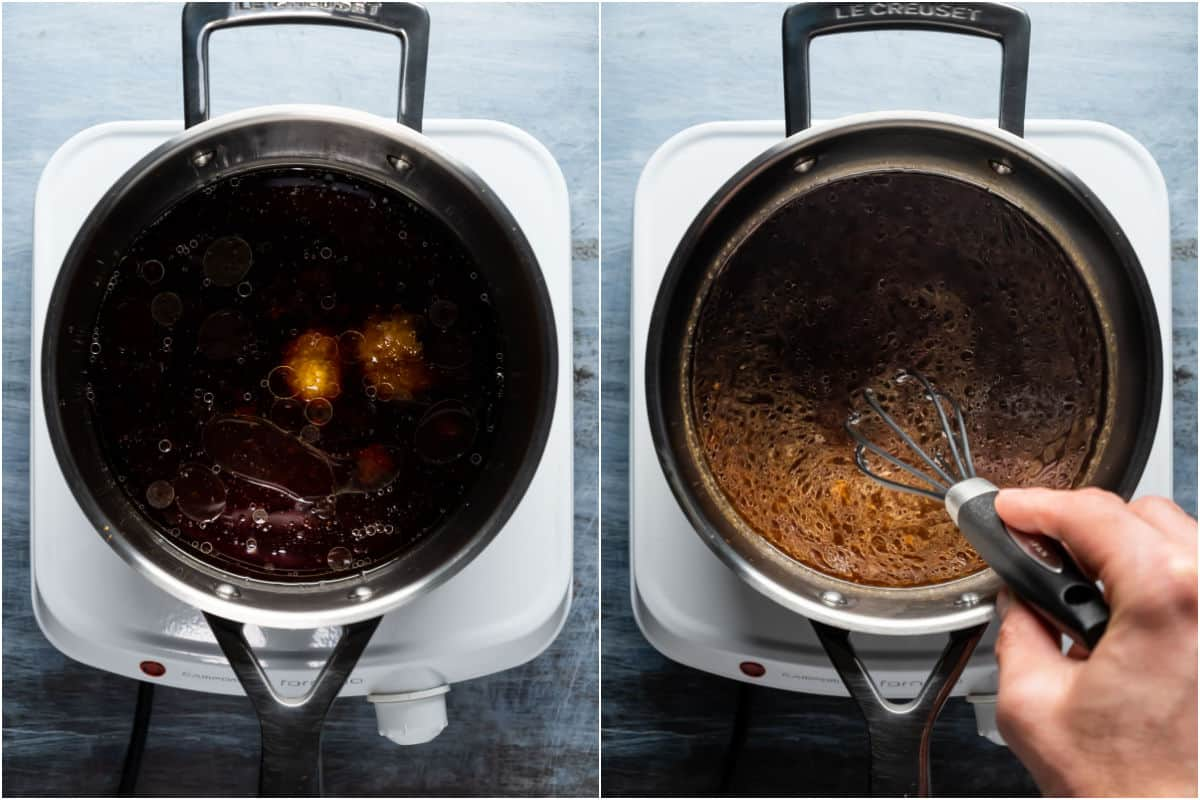 Two photo collage showing ingredients added to saucepan and brought to a simmer.