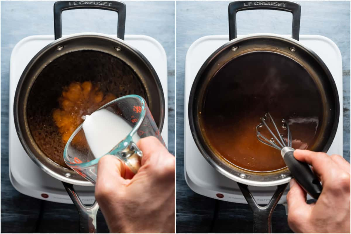 Two photo collage showing cornstarch slurry added to saucepan and whisked in.