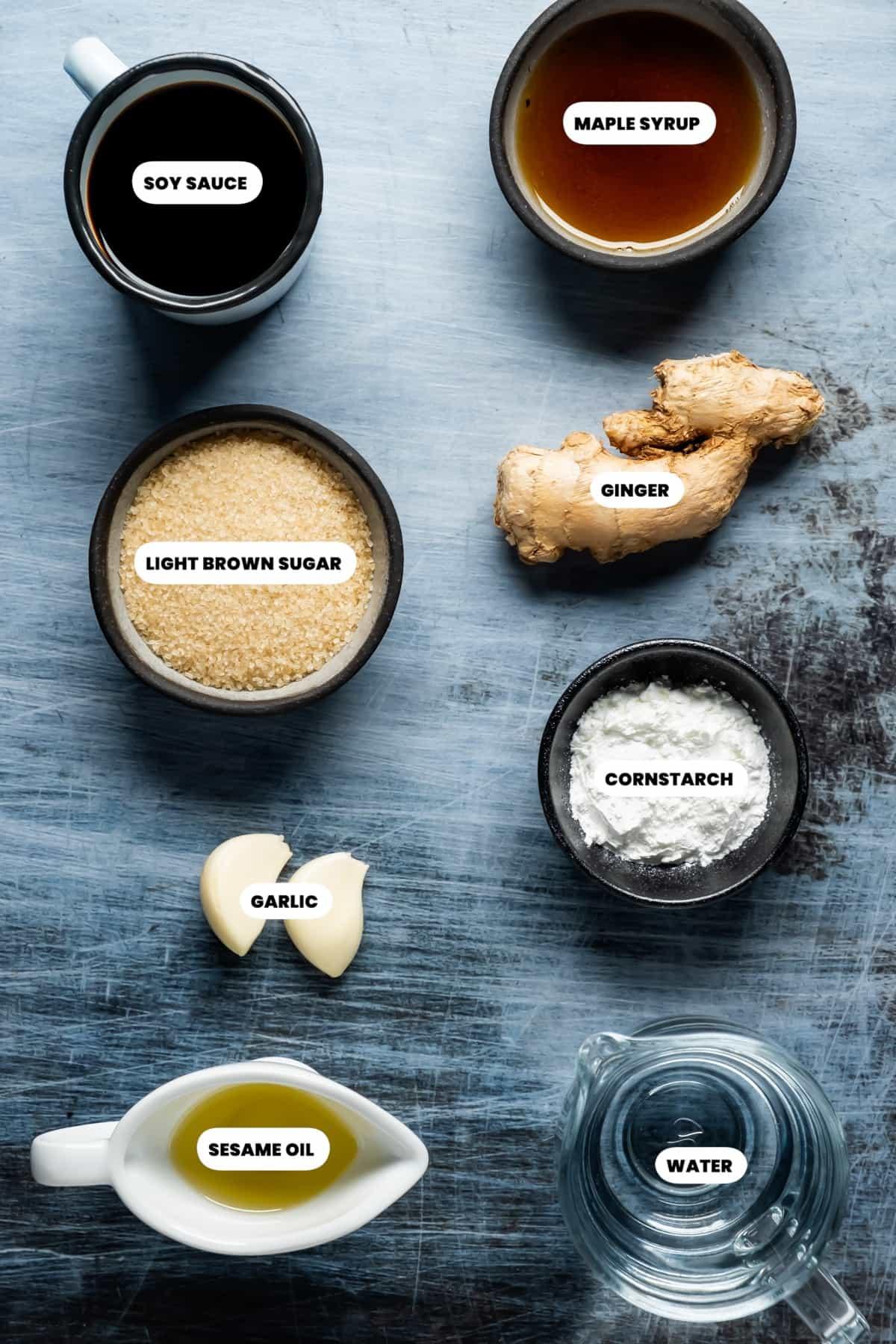 Photo of the ingredients needed to make vegan teriyaki sauce.