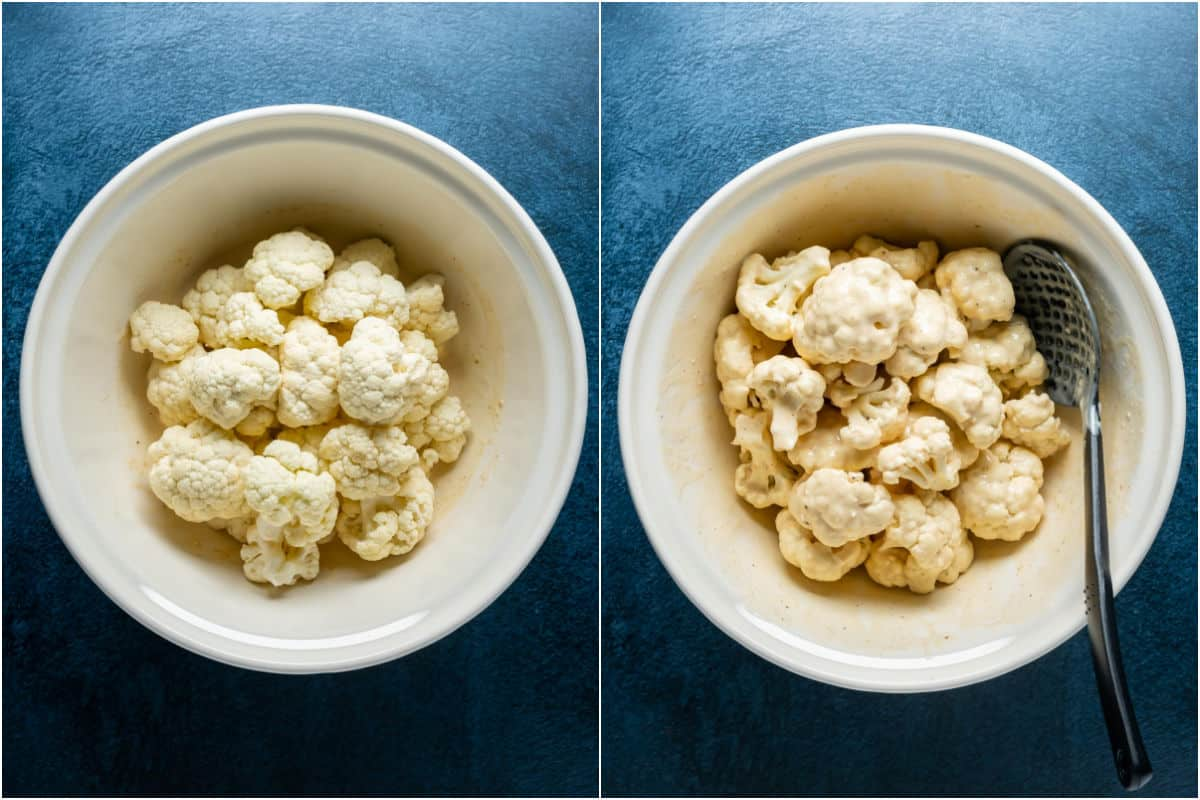 Two photo collage showing cauliflower added to batter and tossed until coated.