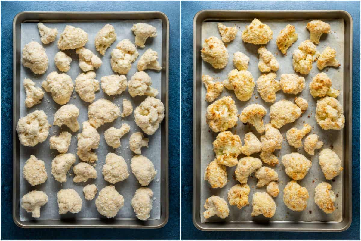 Two photo collage showing breaded cauliflower on a parchment lined baking sheet before and after baking.