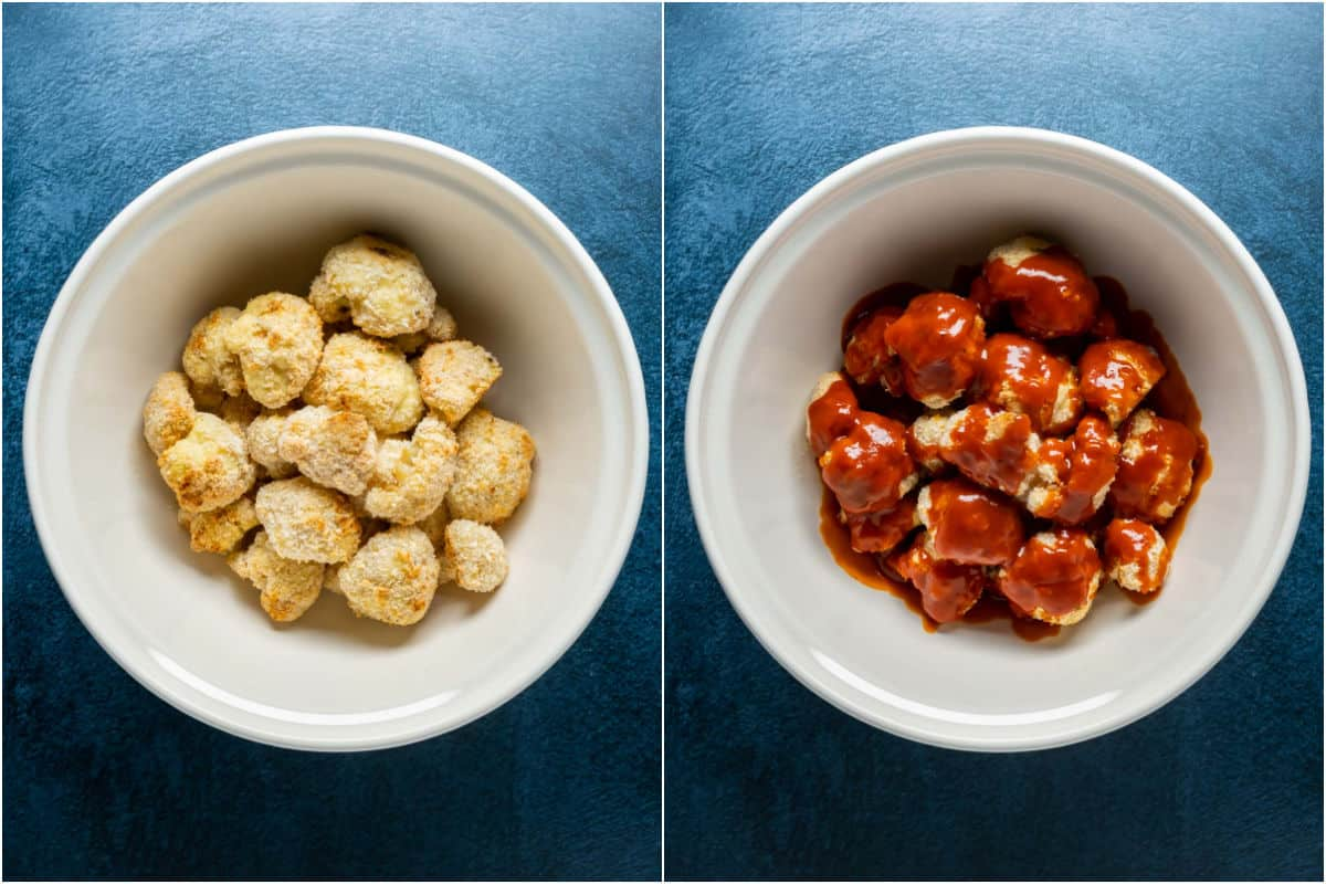 Two photo collage showing cauliflower added to bowl and then bbq sauce poured over the top.