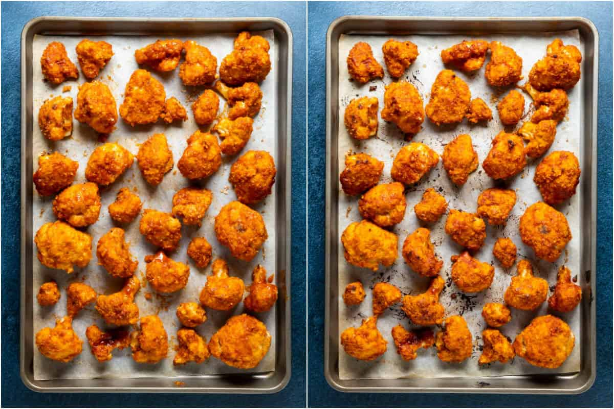 Two photo collage showing bbq cauliflower wings on a parchment lined baking sheet before and after baking.