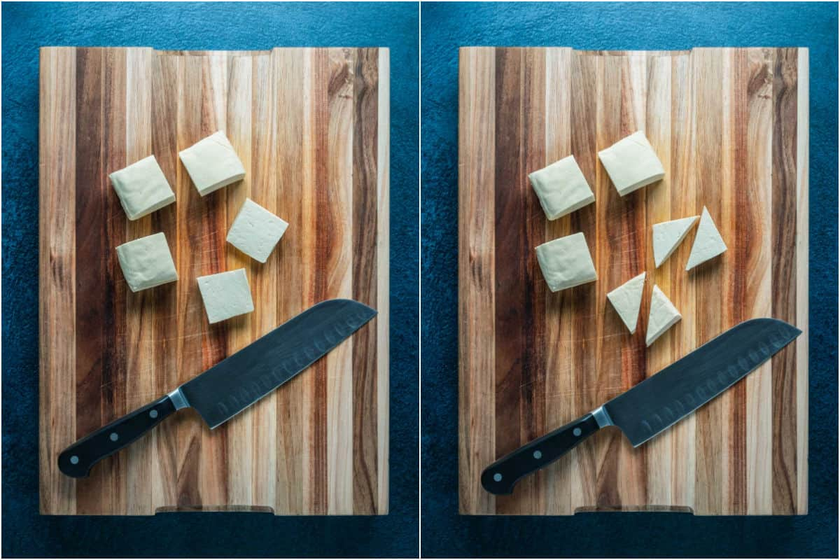 Two photo collage showing cutting tofu into triangles on a wooden board.