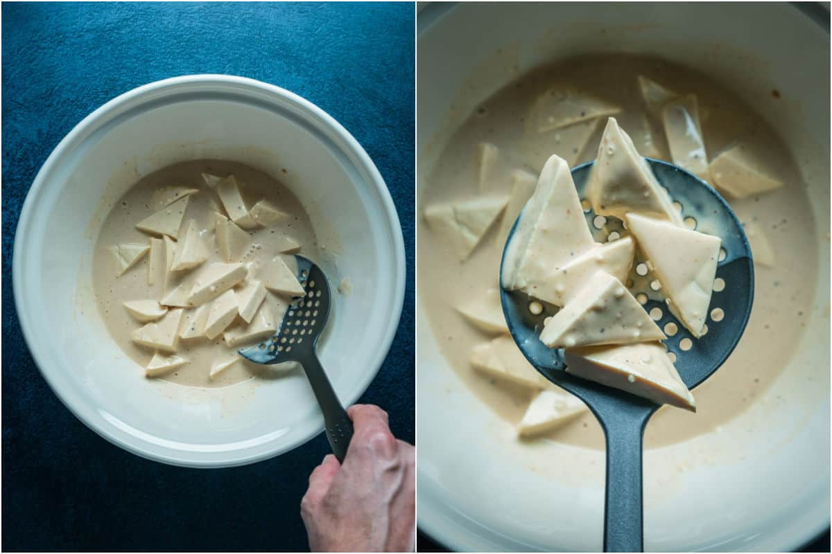 Two photo collage showing tofu triangles added to batter and coated with batter.