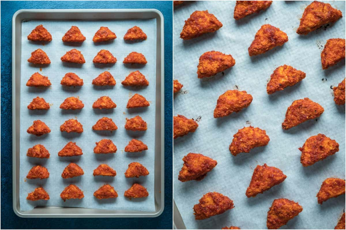 Two photo collage showing bbq sauce coated tofu on parchment lined tray and then baked.