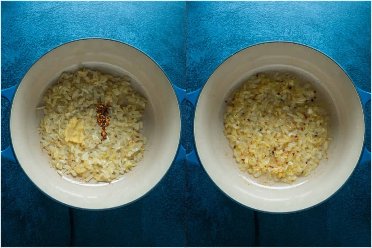 Two photo collage showing crushed garlic and red pepper flakes added to onions and sautéed.