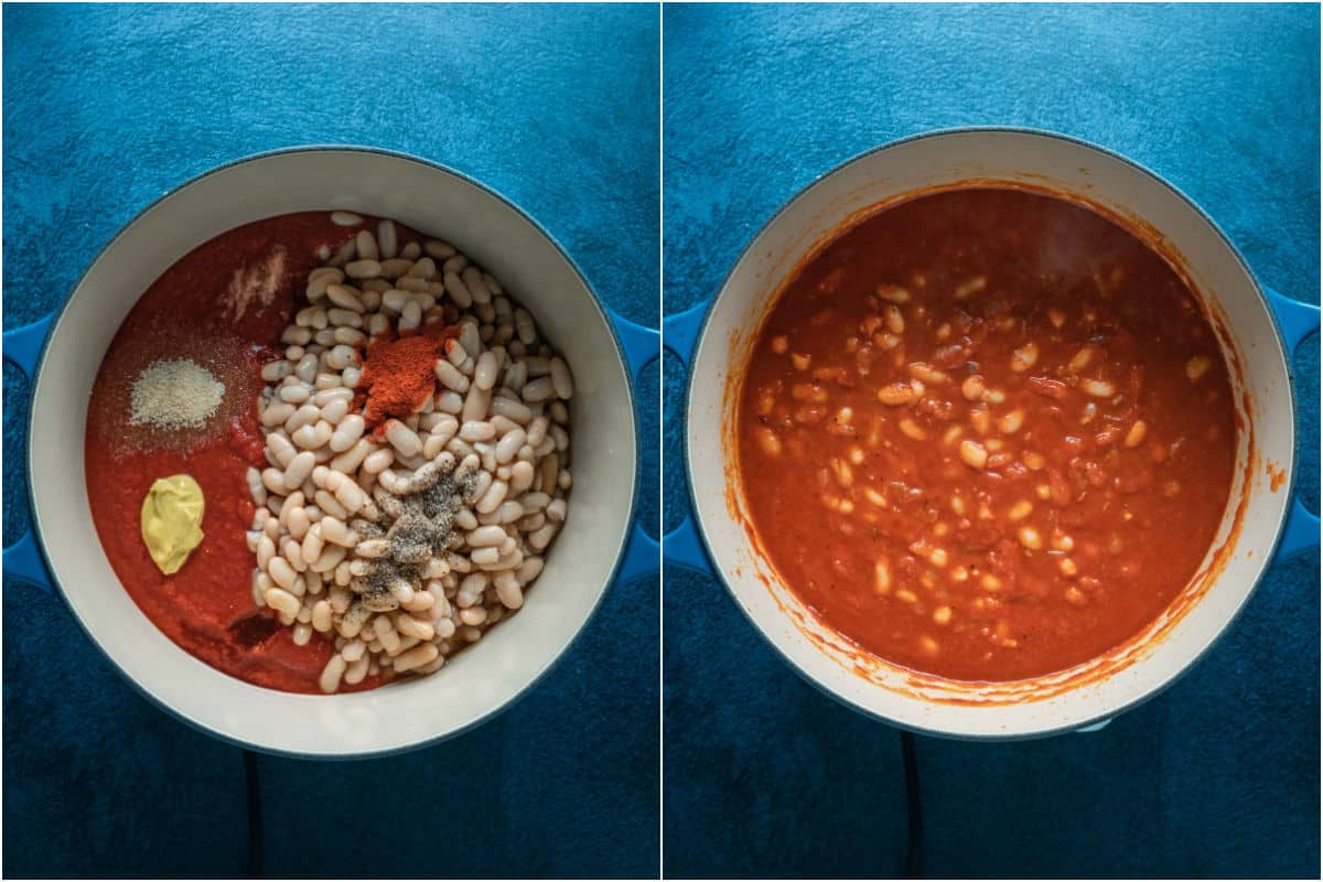 Two photo collage showing ingredients for baked beans added to pot and brought to a simmer.