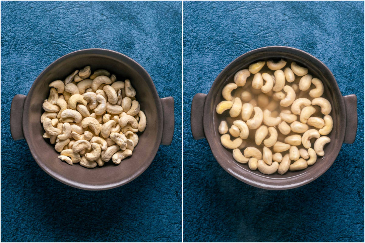 Two photo collage showing cashews added to a bowl and then hot water poured over the top.