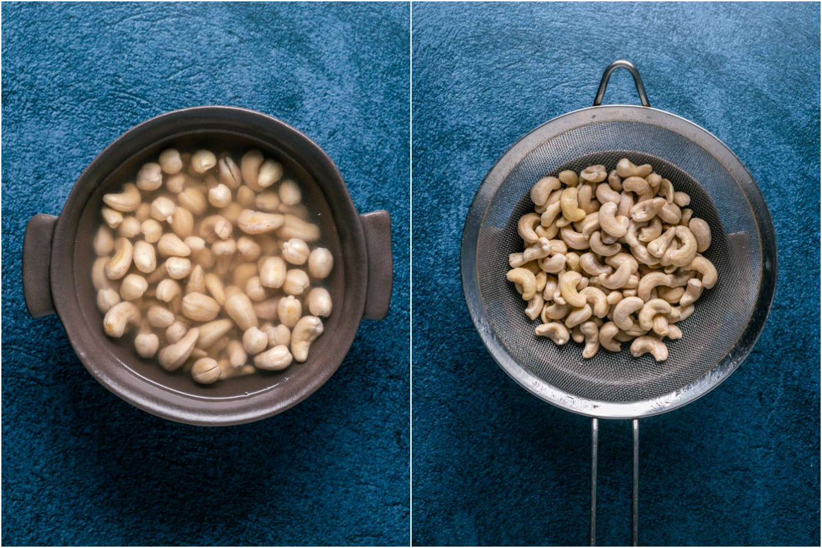 Two photo collage showing the soaked cashews and then drained in a sieve.