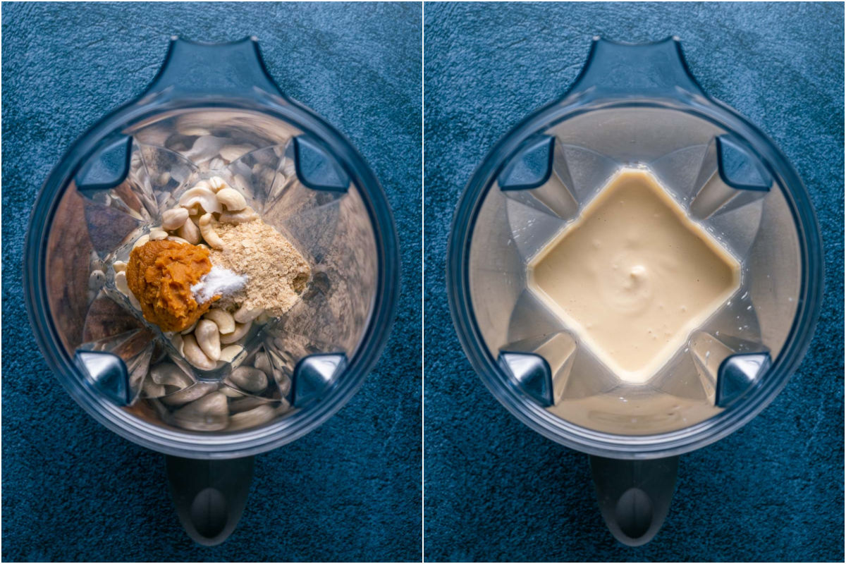 Two photo collage showing ingredients for vegan brie added to blender jug and blended.