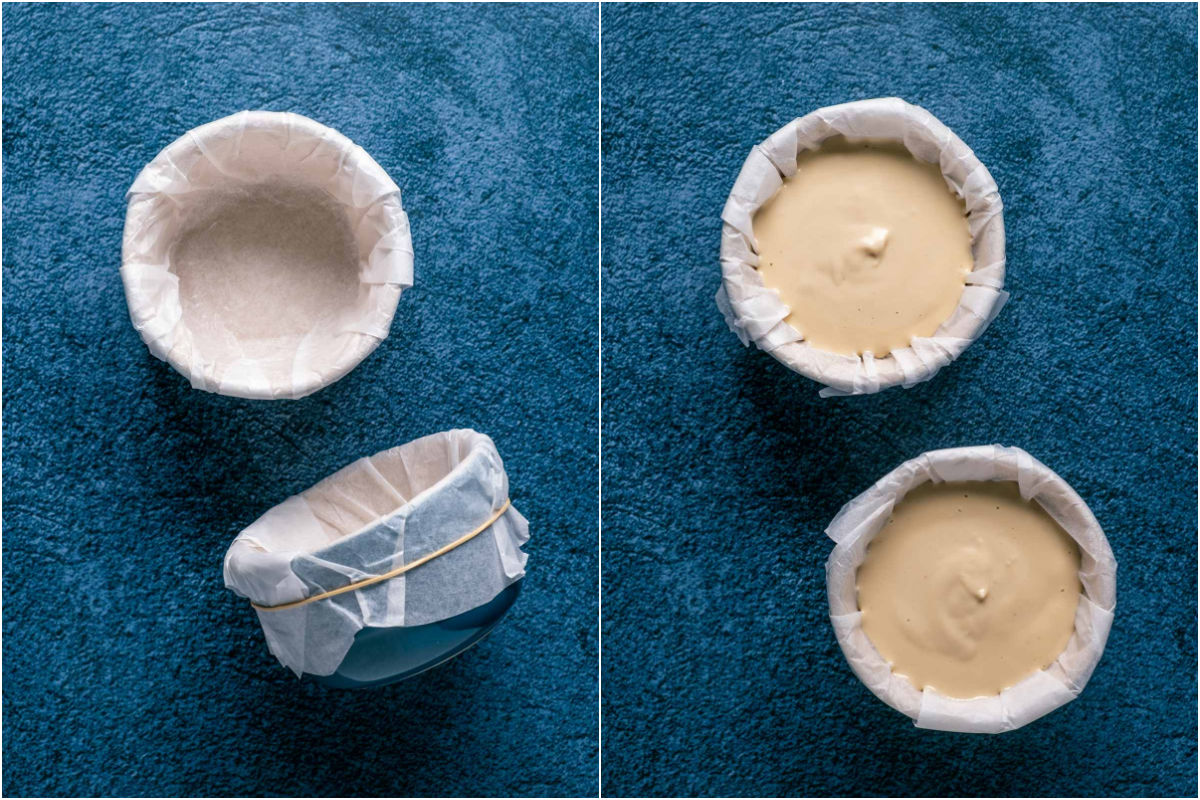 Two photo collage showing parchment lined ramekins and then filled with brie cheese mix.