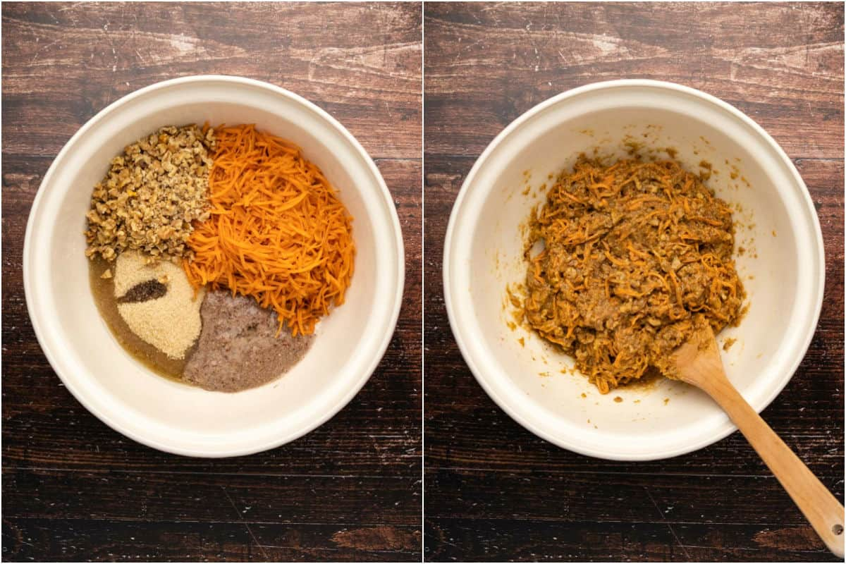 Two photo collage showing wet ingredients added to mixing bowl and mixed into a thick batter.