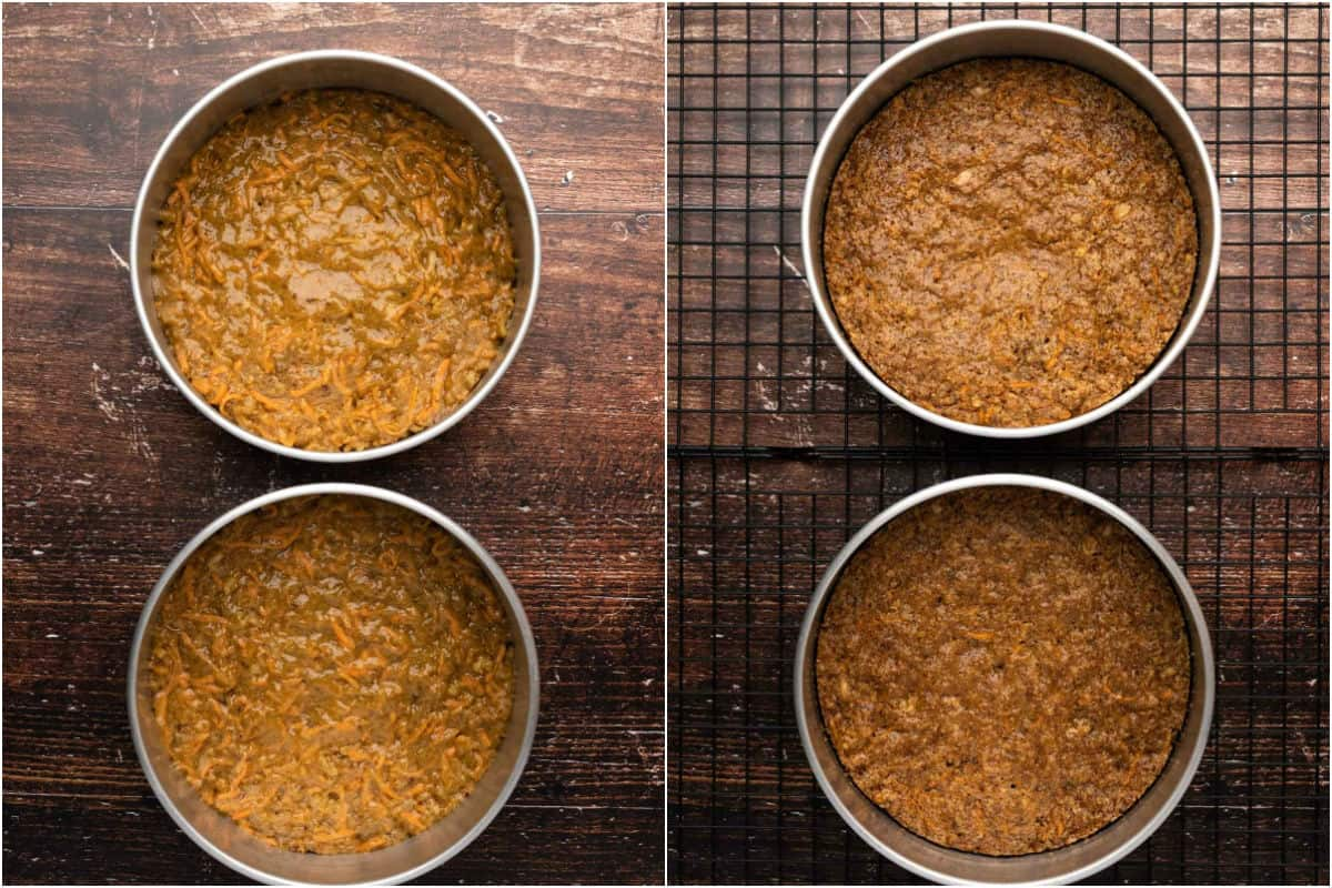 Two photo collage showing carrot cake before and after baking.