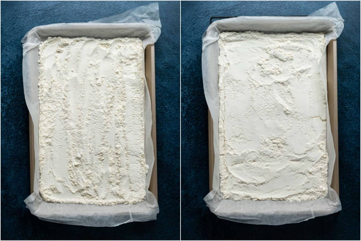 Two photo collage showing flour on a baking tray before and after heat treating in the oven.