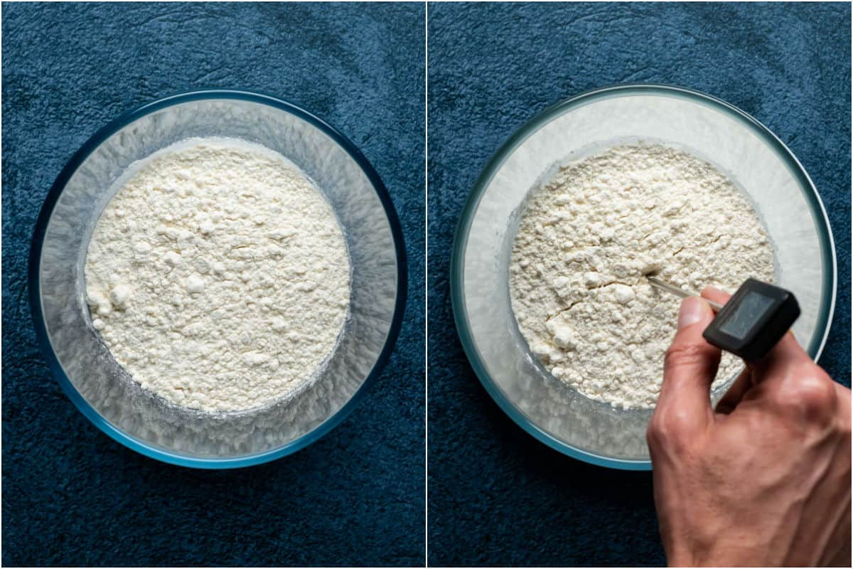 Two photo collage showing flour in a bowl and then with an instant read thermometer in the flour.
