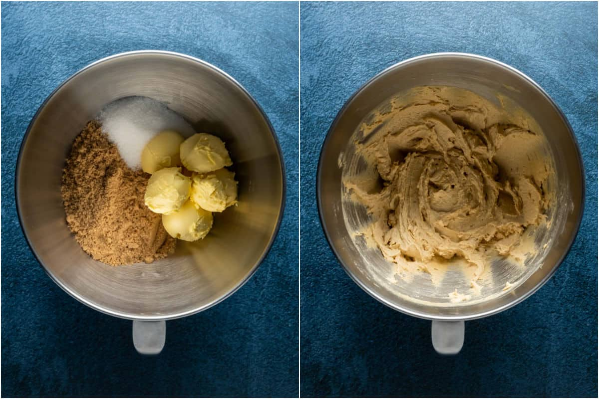 Two photo collage showing vegan butter, brown sugar and granulated sugar added to stand mixer and creamed together.