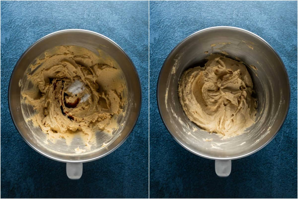 Two photo collage showing salt and vanilla added to stand mixer and mixed in.