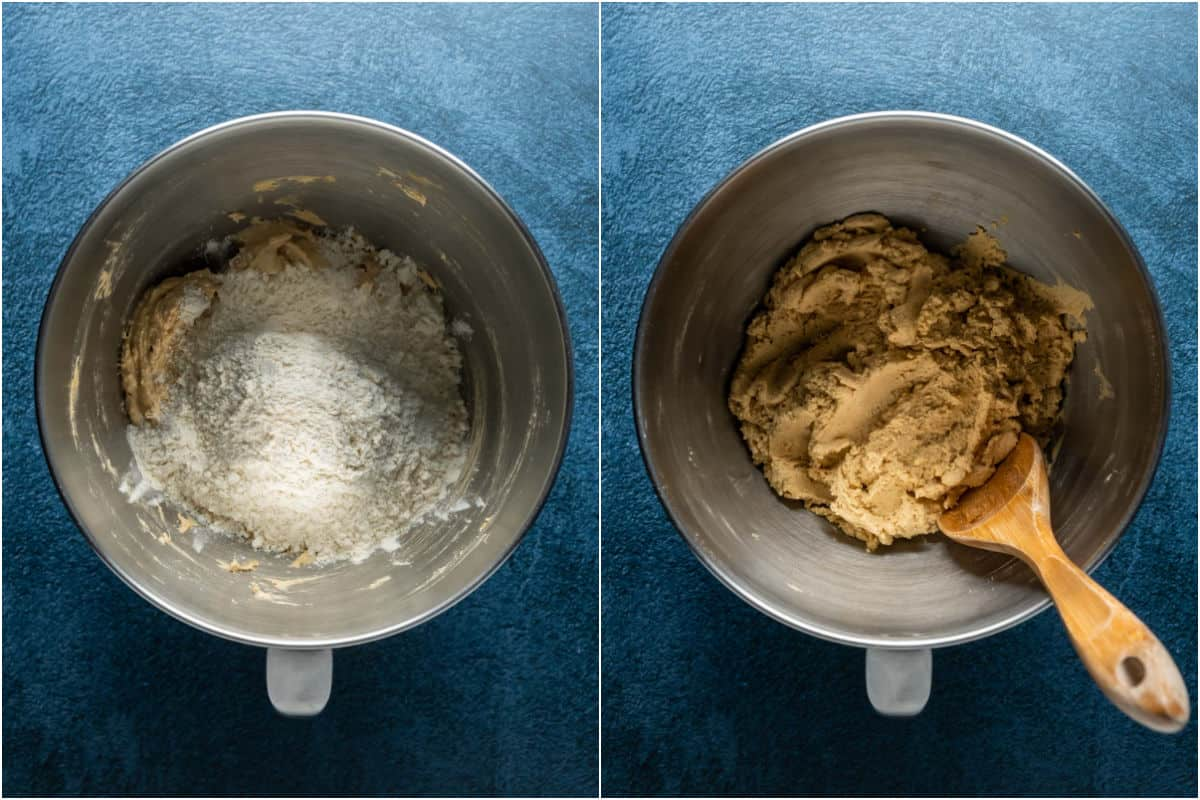 Two photo collage showing heat treated flour added to bowl and mixed into a cookie dough.