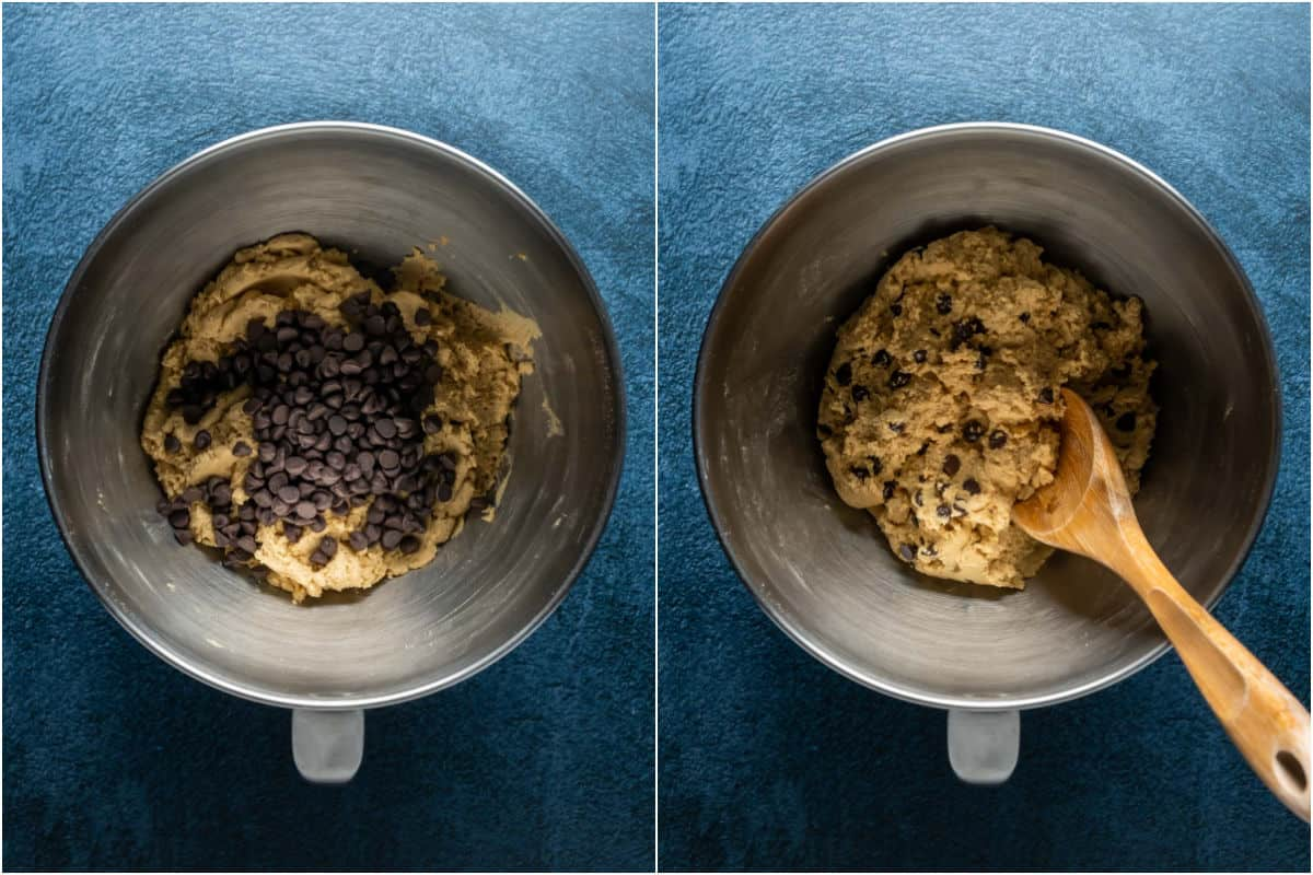 Two photo collage showing chocolate chips added to cookie dough and mixed in.