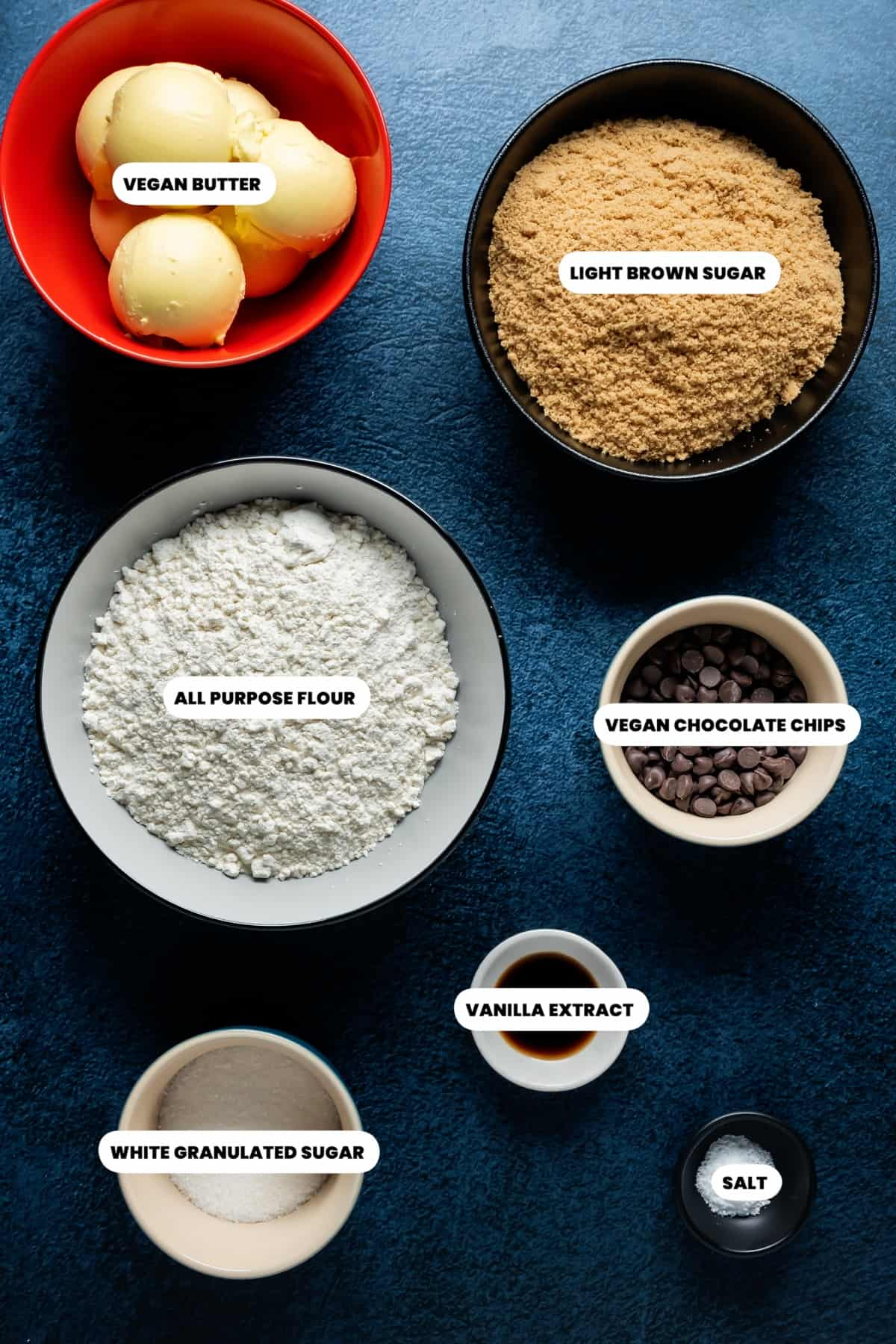 Photo of the ingredients needed to make vegan cookie dough.