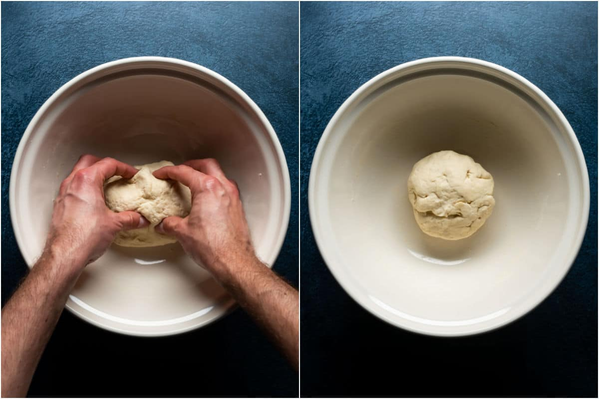 Two photo collage showing forming the dough into a ball.