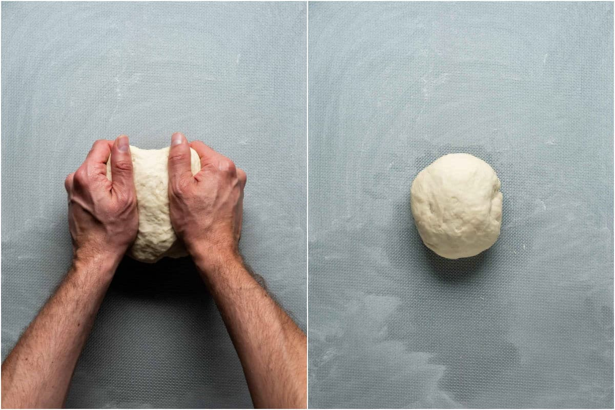 Two photo collage showing the ball of dough on a flour dusted surface and kneading it into a smooth ball.