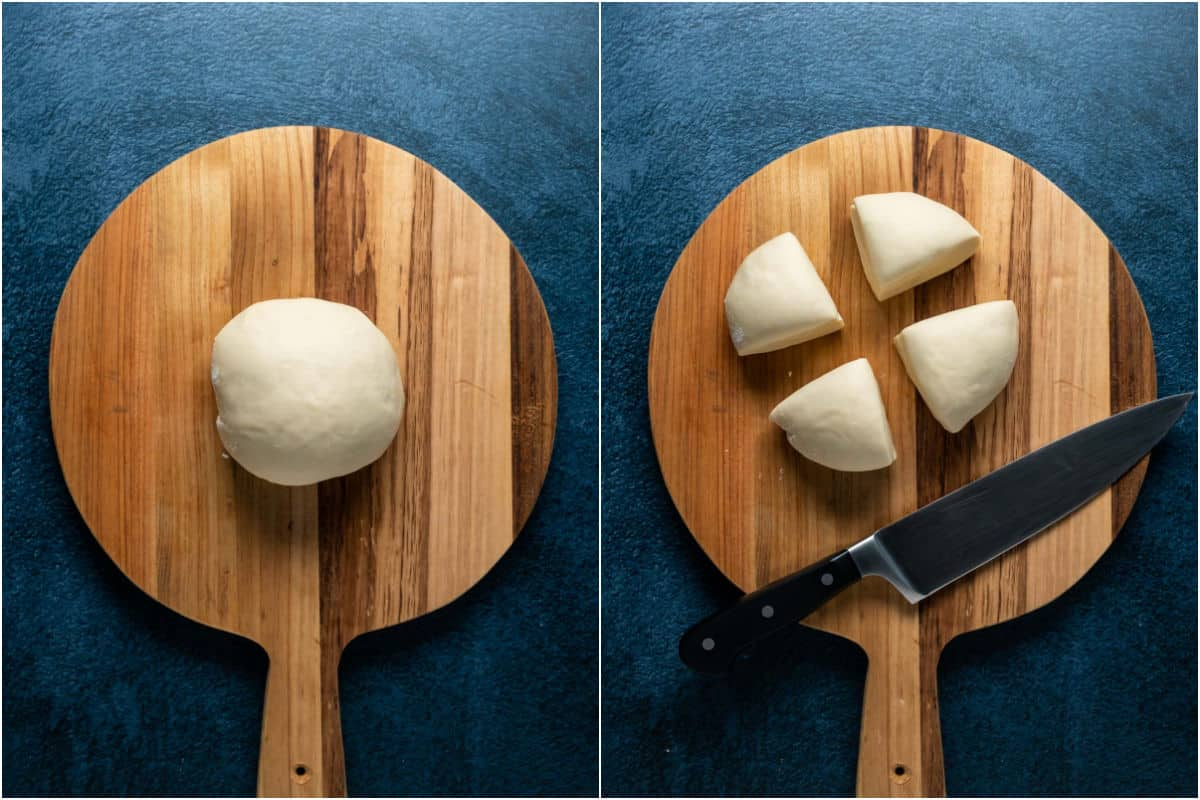 Two photo collage showing dough ball placed onto a wooden cutting board and cut into four pieces.