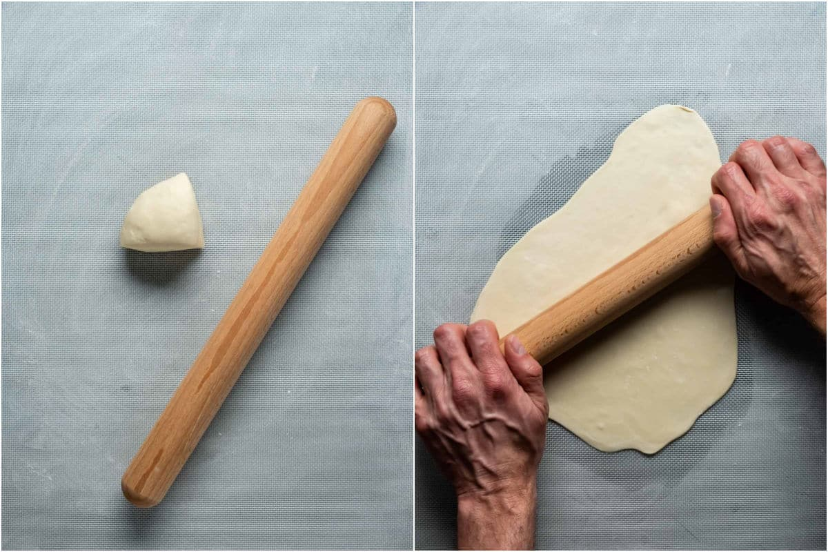 Two photo collage showing piece of dough placed on flour dusted surface and rolled out.