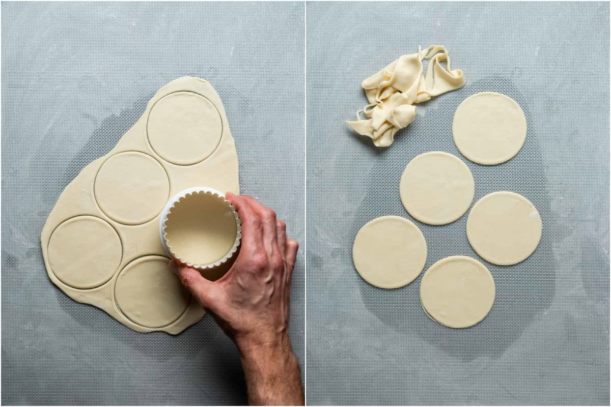 Two photo collage showing rolled out dough cut into circles.