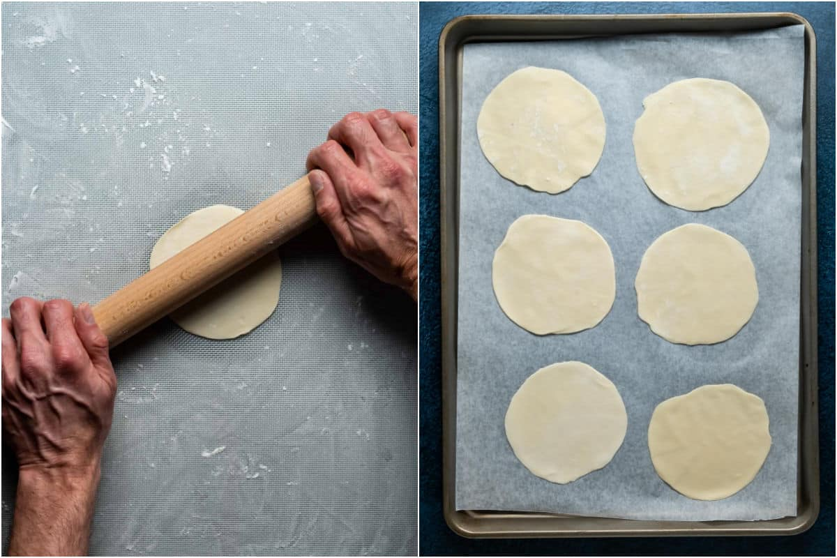 Two photo collage showing rolling out each dough circle and placing it onto a parchment lined tray.