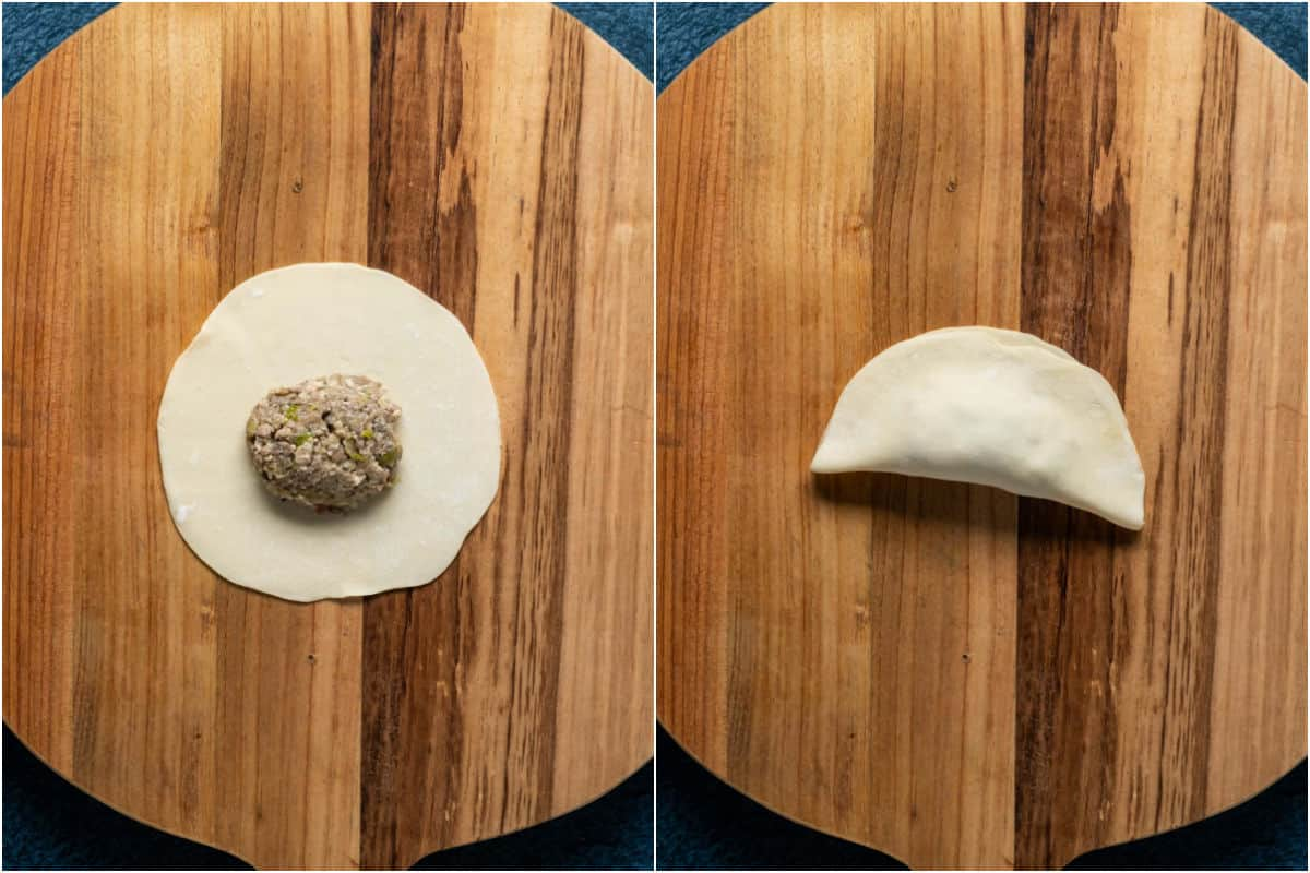 Two photo collage showing filling placed on top of wonton wrapper and then folded in half.