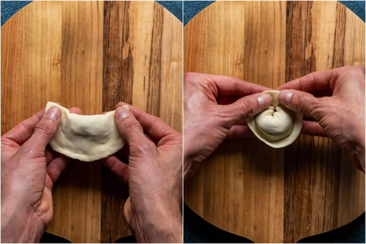 Two photo collage showing forming the filled dumpling into a folded shape.