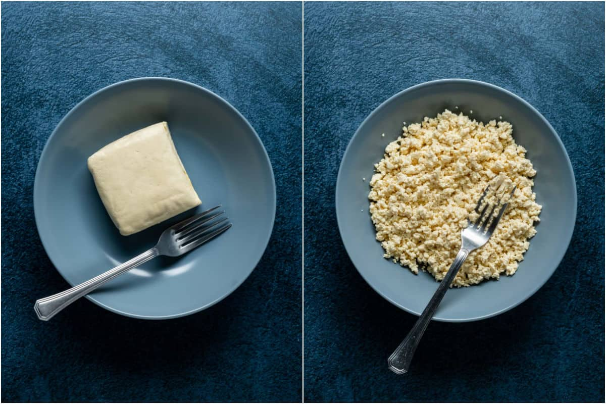 Two photo collage showing firm tofu added to bowl and mashed with a fork.