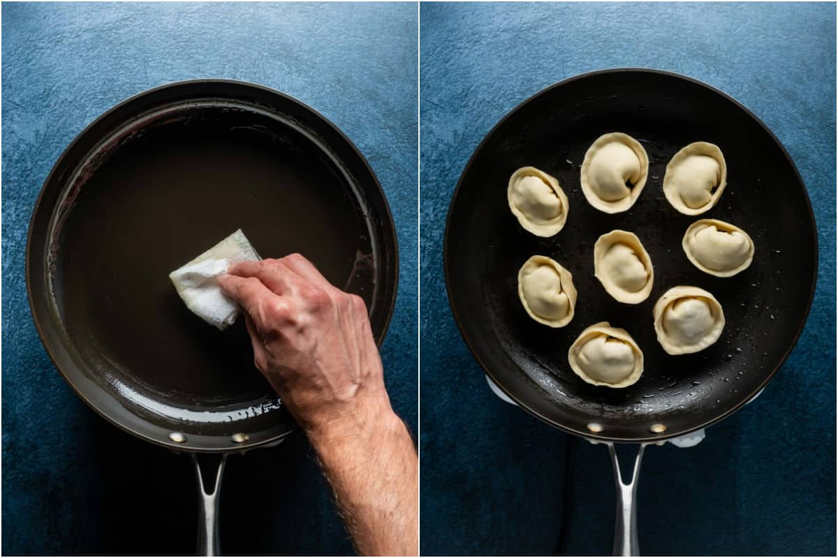 Two photo collage showing greasing a frying pan and then frying the dumplings.