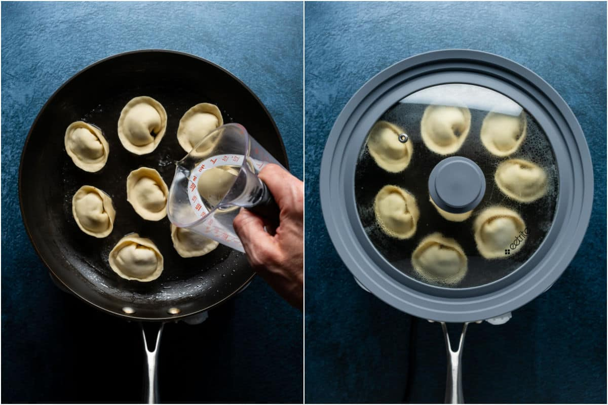 Two photo collage showing water poured into the frying pan and then a lid placed on top to steam the dumplings.
